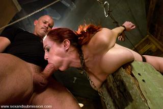 busty redhead bondage sucking