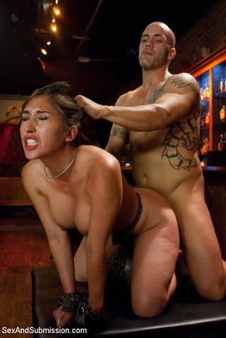 busty brunette waitress severe