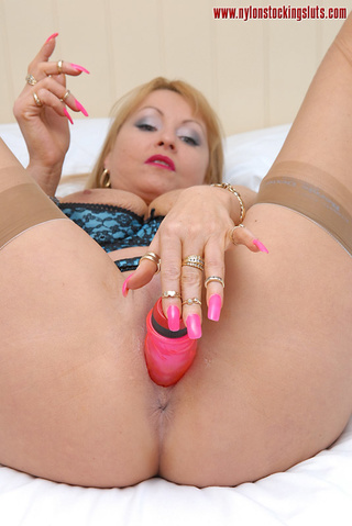 thick pink dildo penetrating