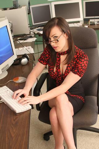 brunette office babe jennifer