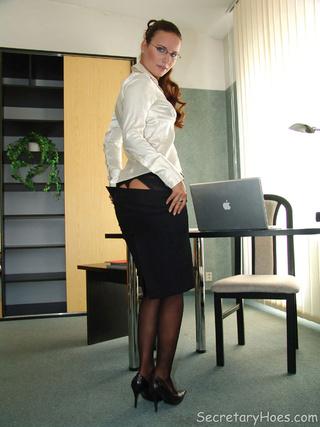 secretary claudia black nylons