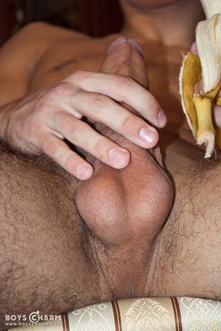 eating banana oozing gay