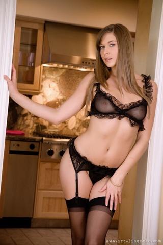 beautiful brunette sheer lingerie